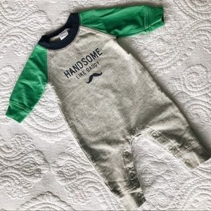 Gray and Green Baby Sweatsuit Handsome Like Daddy